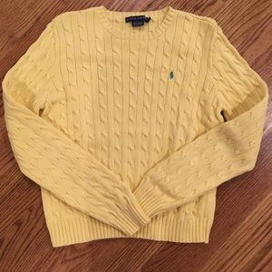 🌿XL Ralph Lauren Cable Knit Canary Sweater